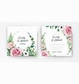 stylish elegant floral watercolor wedding invite vector image vector image