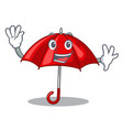 waving red umbrellas isolated in a mascot vector image