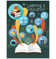 Open Book with Education Icons vector image