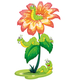 A big flower with worms vector image vector image