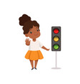 african american girl showing stop gesture and vector image vector image