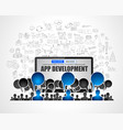 app development concept with business doodle vector image vector image