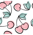 beautiful seamless pattern with cute doodle cherry vector image vector image