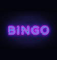 bingo neon text lottery neon sign design vector image