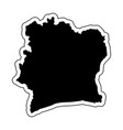 black silhouette of the country ivory coast vector image vector image