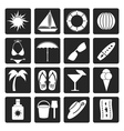 Black Summer and Holiday Icons vector image vector image