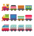 Cartoon Style Toy Railroad Train Set vector image
