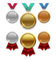 champion gold silver and bronze award medals vector image vector image
