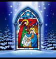 Christmas stained glass window in winter forest
