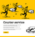 courier service concept web banner with delivery vector image vector image