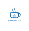 cup coffee and surfboard design template vector image vector image