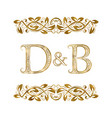 d and b vintage initials logo symbol the letters vector image vector image
