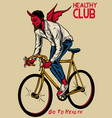 devil riding bicycle vector image vector image