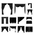 different kinds of curtains black icons in set vector image