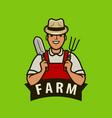 farm logo or label happy farmer with garden tools vector image vector image