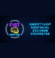 glowing neon fighting sport club sign in circle vector image vector image