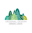 green logo original design summer forest eco vector image vector image