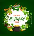 green shamrock and saint patrick holiday icons vector image vector image