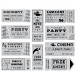 grunge grayscale tickets collection 3 vector image vector image