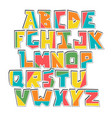 hand lubberly cut colorful alphabet sticker vector image