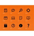 Help and FAQ icons on orange background vector image vector image