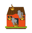 house on fire vector image vector image