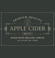 label for apple cider with leaf in retro style vector image vector image