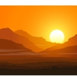 Lifeless landscape with huge mountains at sunset vector image vector image