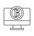 line computer technology with bitcoin currency vector image vector image