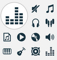 music icons set collection of earmuff megaphone vector image vector image