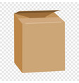 opened brown rectangle box mockup realistic style vector image vector image
