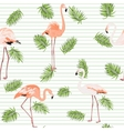 Palm tree leaves pink flamingos pattern stripes vector image