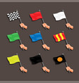racing flag with hand marshall instruction symbol vector image vector image