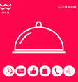 restaurant steel serving tray cloche line icon vector image vector image