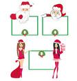 Santa Claus holding a Christmas frame - set vector image