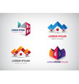 set real estate houses building logos vector image