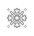 snowflake snow winter line icon vector image