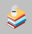 the isometric of a stack of books vector image vector image