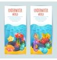 Underwater sea animals vertical banners set vector image vector image