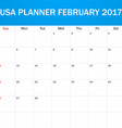 USA Planner blank for February 2017 Scheduler vector image vector image