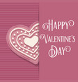 valentines day card with pink heart cookie vector image vector image