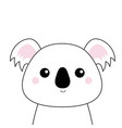 white koala face black contour silhouette kawaii