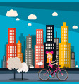 woman on bike with city skyscrapers on background vector image vector image