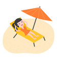 young woman relaxing on beach vector image