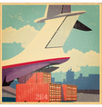 air freighter old poster vector image vector image