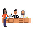 arabic and asian receptionists at hotel reception vector image