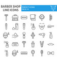 barber shop line icon set hairstyle symbols vector image