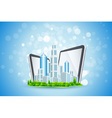 Blue Background with Business City and Tablet Comp vector image vector image
