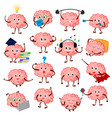 brain emotion cartoon brainy character vector image vector image