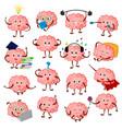 brain emotion cartoon brainy character vector image